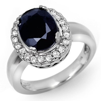 Fine 4.65ctw ACA Certified Diamond & Sapphire Ring Gold