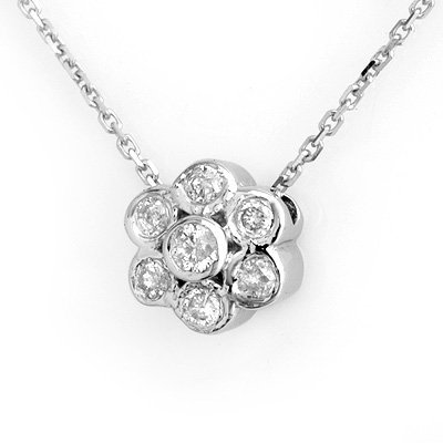 Genuine 0.25ctw Diamond Flower Necklace 14K White Gold