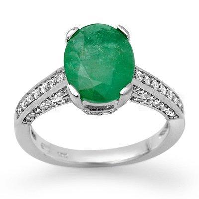 ACA Certified 3.20ctw Diamond & Emerald Ring 14K Gold