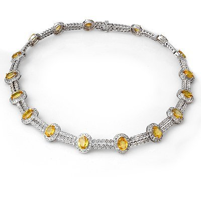 Necklace 34.50ctw Certified Diamond & Yellow Sapphire