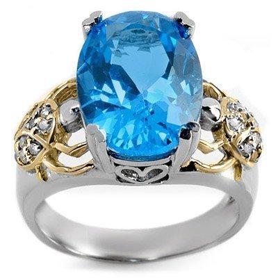 Famous 8.20ctw ACA Certified Diamond & Blue Topaz Ring