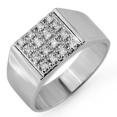 ACA Certified 0.25ctw Diamond Men's Ring in White Gold