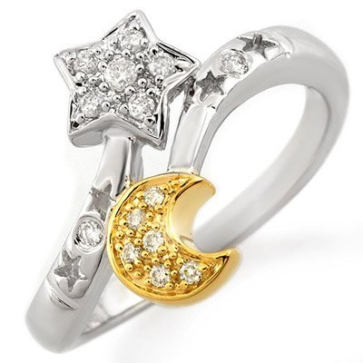 ACA Certified 0.30ctw Diamond Right-Hand Ring Two-Tone
