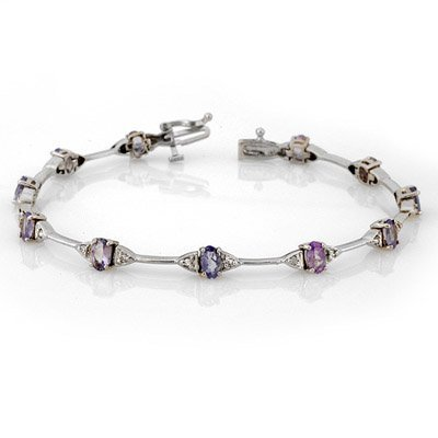 Certified 2.3ct Diamond & Tanzanite Tennis Bracelet 14K