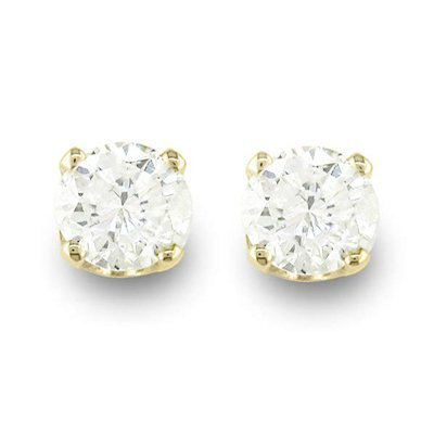 Solitaire 0.90ctw Diamond Stud Earrings Gold