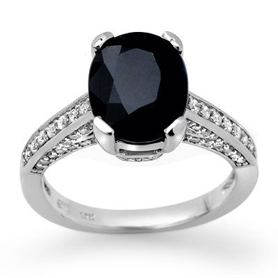 Certified 3.75ctw Diamond & Sapphire Ring White Gold