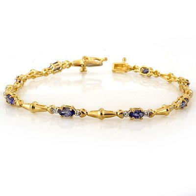 ACA Certified 2.75ctw Diamond & Tanzanite Bracelet Gold