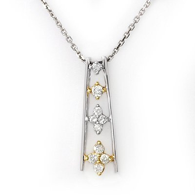 Necklace 0.25ctw ACA Certified Diamond Two-Tone Gold
