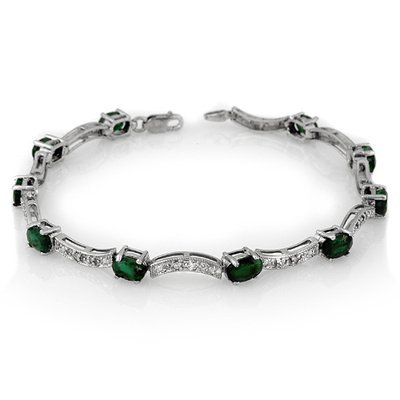 ACA Certified 4.25ctw Diamond & Emerald Bracelet Gold