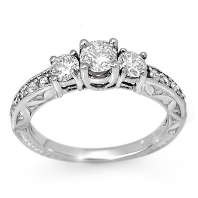 ACA Certified .95ct Diamond Anniversary Ring White Gold