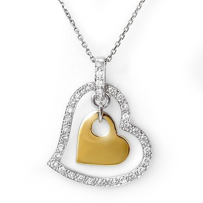 0.33ctw Diamond Heart Necklace Two-Tone Gold