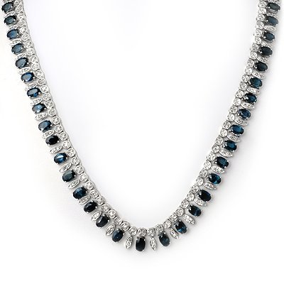 Certified 39.0ct Diamond & Sapphire Necklace 14K Gold