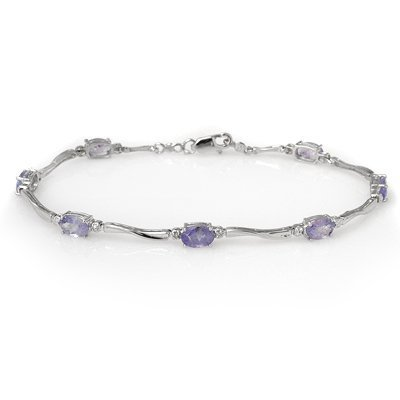 ACA Certified 4.02ctw Diamond & Tanzanite Bracelet Gold
