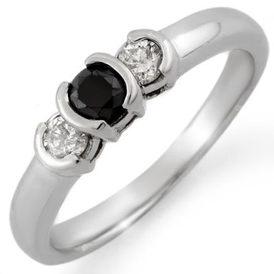 Certified 0.50ctw White & Black Diamond Ring White Gold