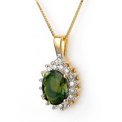 Necklace 3.45ct Certified Diamond Green Tourmaline 14K