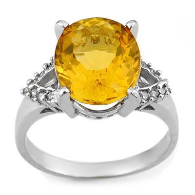 Certified 6.2ctw Diamond & Citrine Ring in White Gold