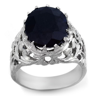 Certified 12.0ctw Blue Sapphire Men's Ring White Gold
