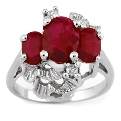 Three-Stone 3.06ctw ACA Certified Diamond & Ruby Ring
