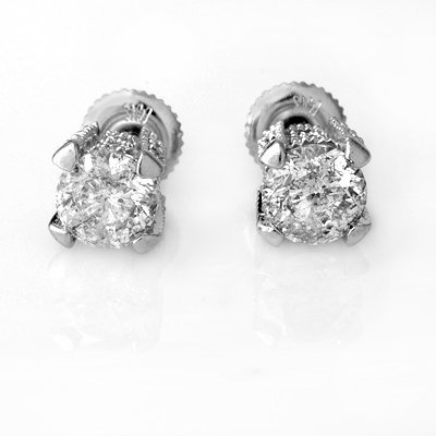Certified 2.0ctw Diamond Stud Earrings 14K White Gold