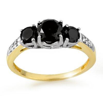 Certified 1.70ctw White/Black Diamond Ring 14K Two-Tone