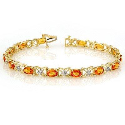 Bracelet 10.15ctw Certified Diamond & Orange Sapphire