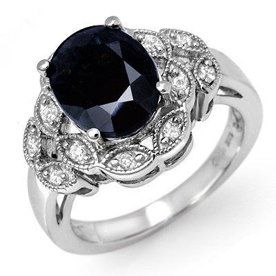 Fine 5.0ctw ACA Certified Diamond & Sapphire Ring Gold