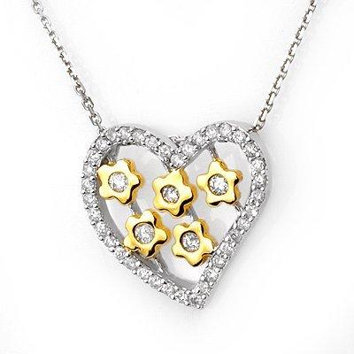 ACA Certified 0.45ctw Diamond Heart Shape Necklace Gold