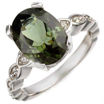 Ring 4.25ctw ACA Certified Diamond & Green Tourmaline