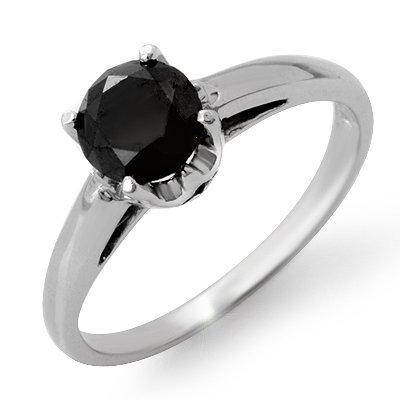 ACA Certified 1.0ct Black Diamond Ring 14K White Gold
