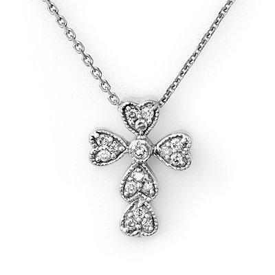 ACA Certified 0.20ctw Diamond Cross Necklace 14K Gold