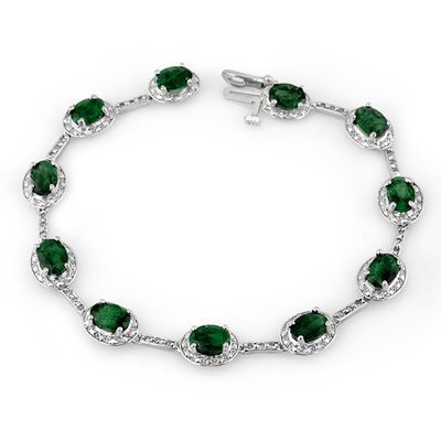 ACA Certified 10.40ct Diamond & Emerald Tennis Bracelet