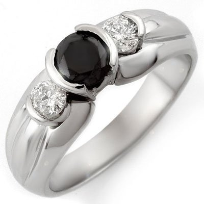 Certified .85ctw White & Black Diamond Ring White Gold