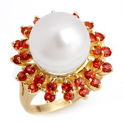 Ring 1.5ctw Red Sapphire & 11-12mm Pearl