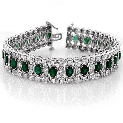 Fine 14.50ctw ACA Certified Diamond & Emerald Bracelet
