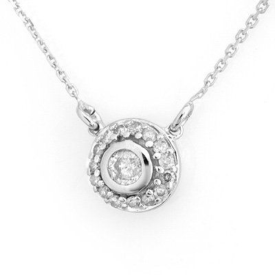 Vintage Style 0.45ctw Diamond Necklace 14K White Gold
