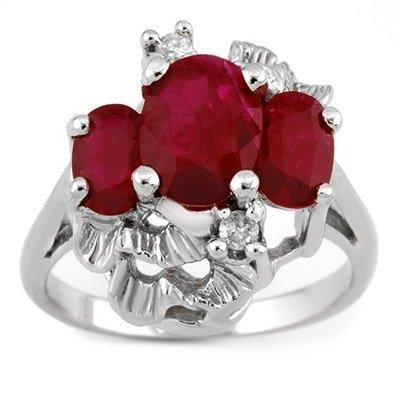 Three-Stone 3.06ctw ACA Certified Diamond & Ruby Ring