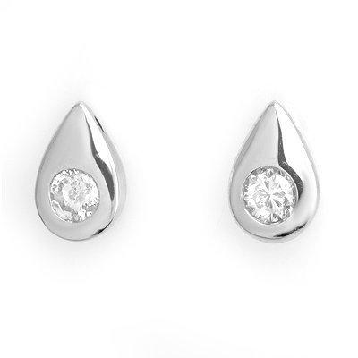 Genuine 0.75ctw Diamond Stud Earrings 14K White Gold