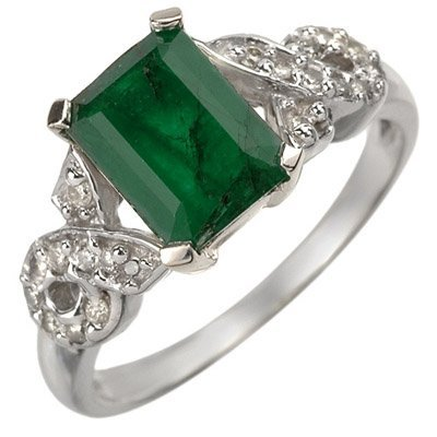 ACA Certified 2.25ctw Diamond & Emerald Ring White Gold