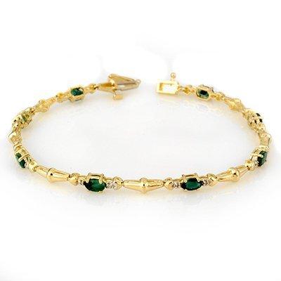 ACA Certified 2.75ctw Diamond & Emerald Tennis Bracelet