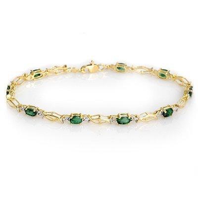 ACA Certified 2.80ctw Emerald Bracelet 14K Yellow Gold