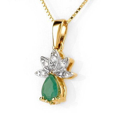 Natural 0.50ctw Diamond & Emerald Necklace Yellow Gold