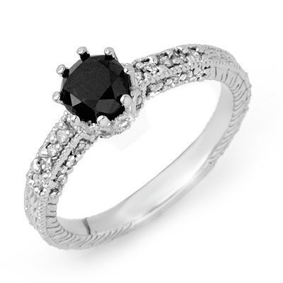 Certified 1.20ctw White & Black Diamond Ring 14K Gold