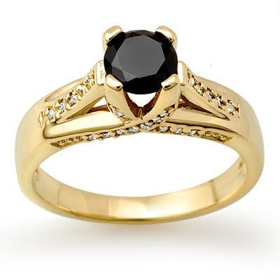 Certified 1.18ctw White & Black Diamond Ring 14K Gold
