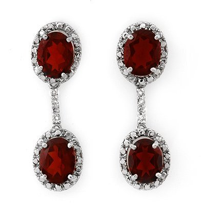 Earrings 8.10ctw Certified Diamond & Garnet White Gold
