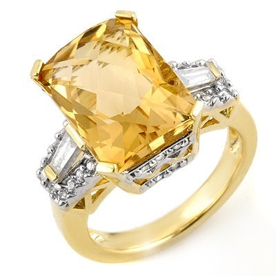Fine 9.55ctw ACA Certified Diamond & Citrine Ring