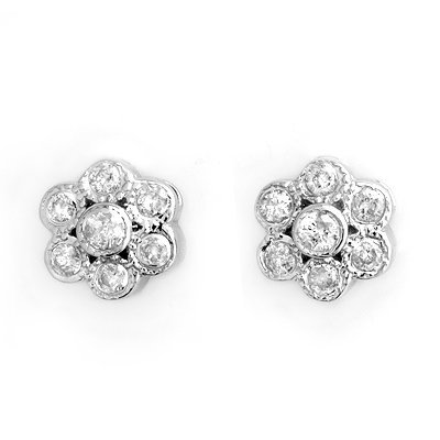 Genuine 0.50ctw Diamond Flower Earrings 14K White Gold