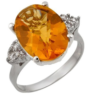 Ring 5.10ctw Diamond & Checkered Citrine