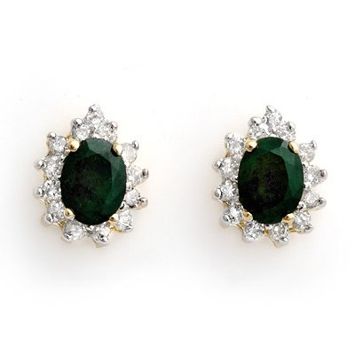 Earrings 3.85ctw ACA Certified Diamond & Emerald