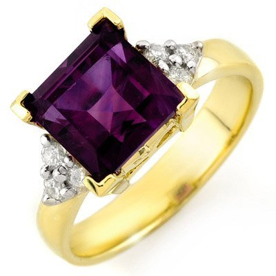 3.20ctw Diamond & Amethyst Ring Yellow Gold