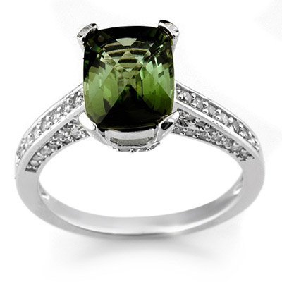 Ring 3.50ct Certified Diamond & Green Tourmaline 14K WG